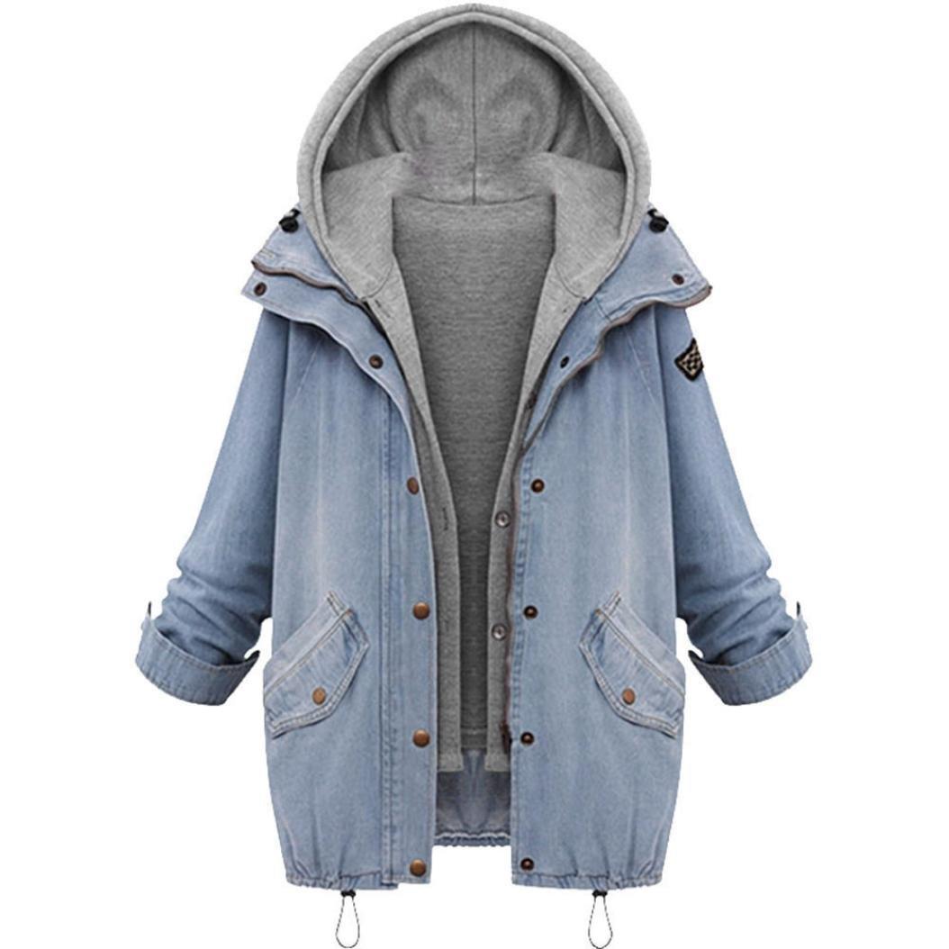 TALLA L. SHOBDW Mujeres de Invierno cálido Collar con Capucha Abrigo Chaqueta de Mezclilla Trinchera Parka Outwear
