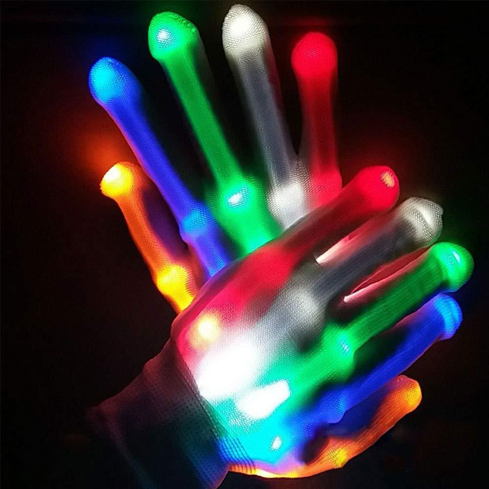 Yuccer Guanti LED Luminosi Adulti Colorate Lampeggianti Guanti Fluorescenti LED Gloves per Halloween Disco Carnevale Neon Feste Natale Club Glow Party Regali Rainbow