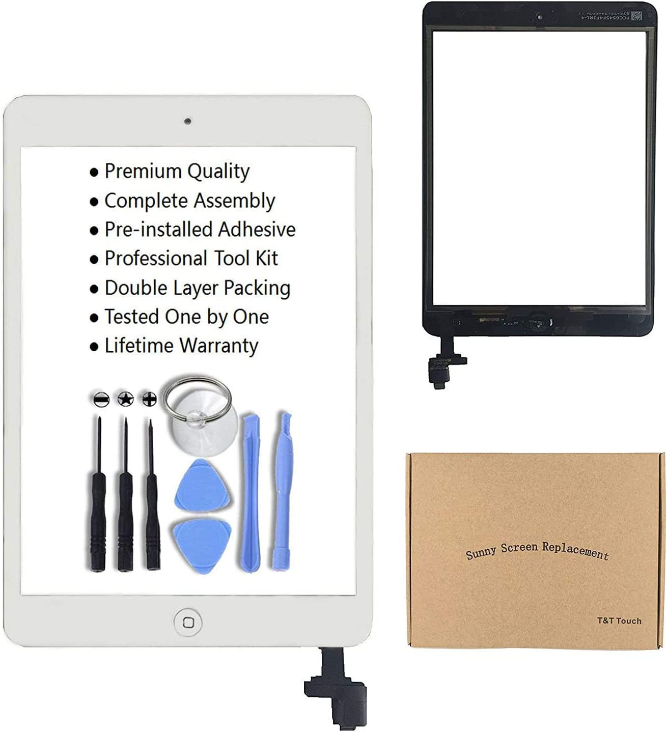 White Glass Replacement Digitizer Replacement Screen Replacement for iPad Mini Model A1432 A1454 A1455 A1489 A1490 Full Digitizer Glass Assembly Kits Includes Adhesive Stickers and Professional Tools