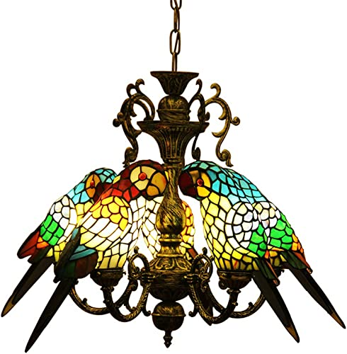 Makenier Tiffany Style Chandelier Ceiling Light Fixture Hanging Pendant LightStainded Glass Vintage Antique Style Multicolored Parrot Handcrafted Shade
