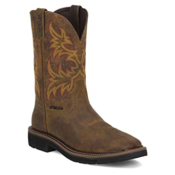 Amazon.com : Justin Womens Tan Rugged Leather Work Boots Steel Toe ...