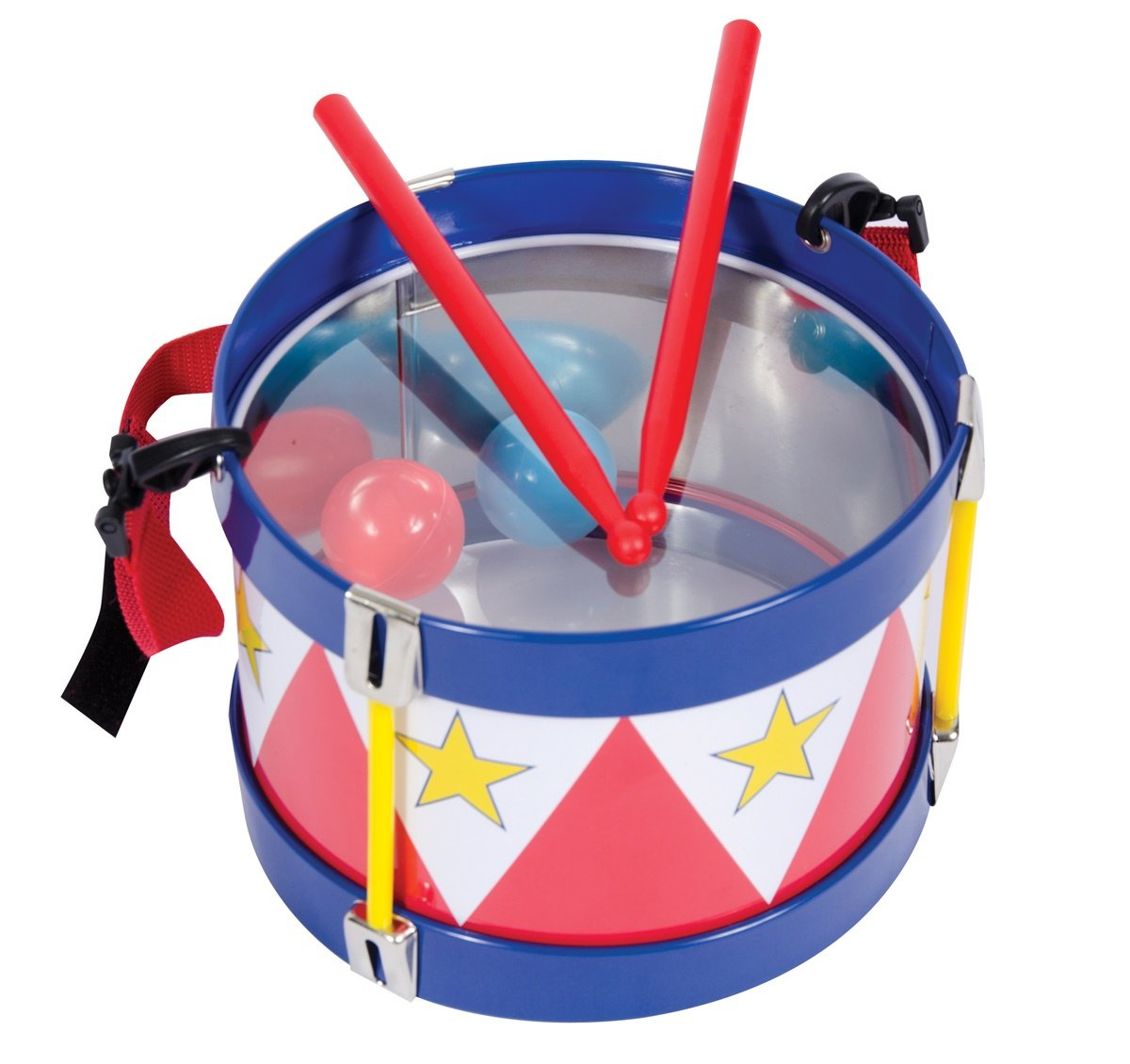 Schylling TD Tin Drum With an adjustable strap and two wooden drumsticks