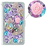 Spritech(TM) 3D Handmade Colorful Diamond Crystal with Butterfly Flower Decoration Design White Leather Wallet for LG G4 H815 H818