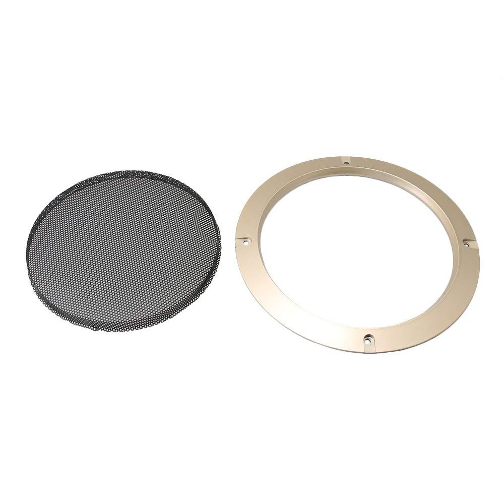 Bqlzr 16,5/cm auto audio altoparlante decorative cerchio dorato speaker griglie di guardia Protector con griglia protettiva nera in rete