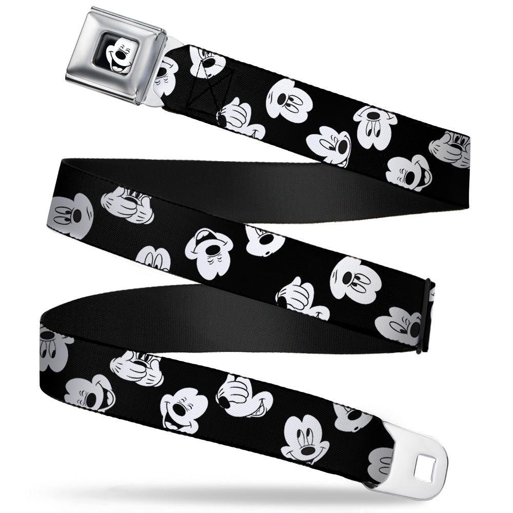 1.0 Wide Buckle-Down Seatbelt Belt Mickey Mouse Expressions Scattered Black//White 20-36 Inches in Length