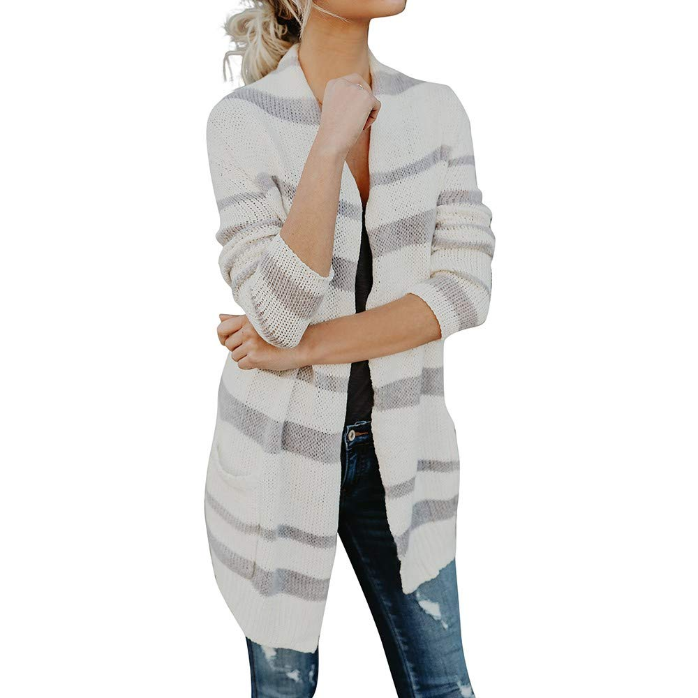 HHei_K Womens Casual Striped Print Knitted Long Sleeve Loose Knits Cardigan Coat Pocket Jacket