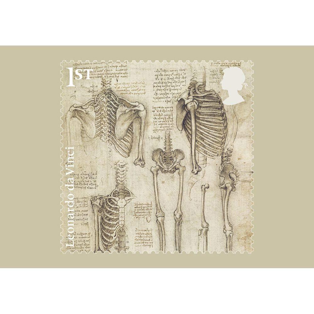 Leonardo da Vinci Set di 12 cartoline con timbro Royal Mail