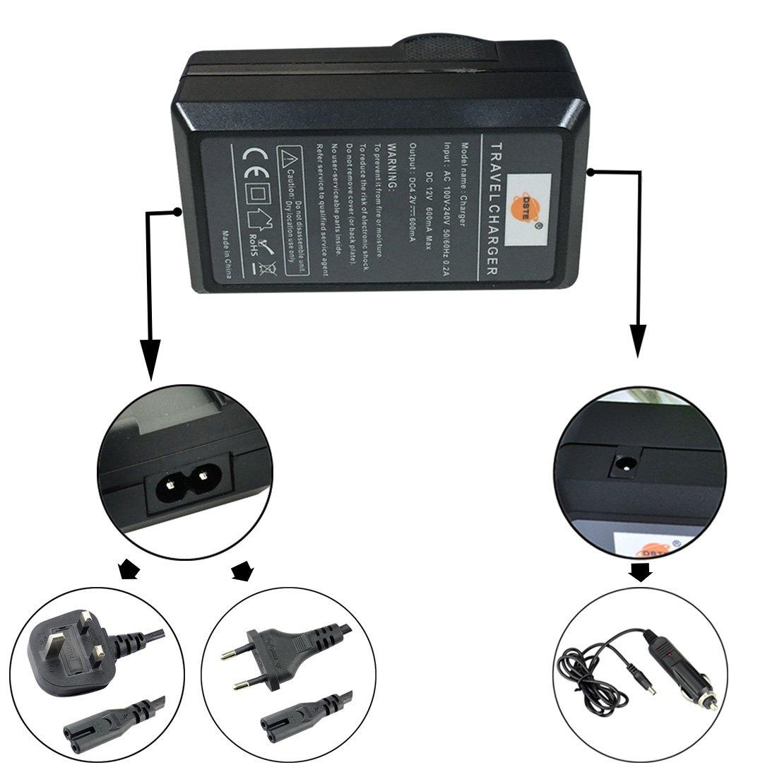 DSTE Bater/ías cargadores para Canon NB-6L Samsung SLB-10A SLB-11A Battery as CB-2LYE
