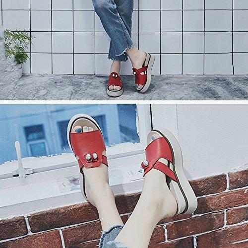 Zapatillas US6 5 UK5 Exterior Tamaño EU37 Color 4 Beige PENGFEI Hembra Grueso Rojo Verano Colores Playa Cómodo Ropa Fondo 235 5pAgFq