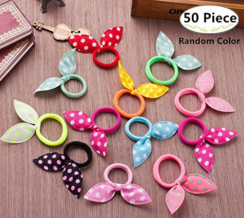 50 Piece Polka Dot Bunny Ear Hair Bow Tie Bands, Magnoloran Colorful Ponytail Holder Elastic Bowknot Hair Ties Rubber Band Hair Rope Headdress Headwear for Baby, Toddlers, Girl, Kids, Women