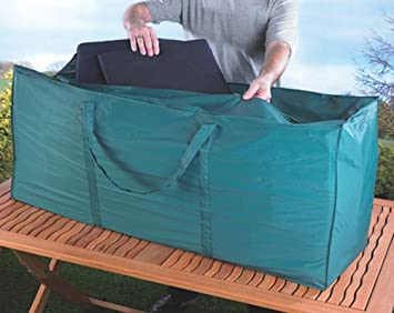 Garden Cushion Storage Bag Green Heavy Duty Waterproof Outdoor Large Holdall