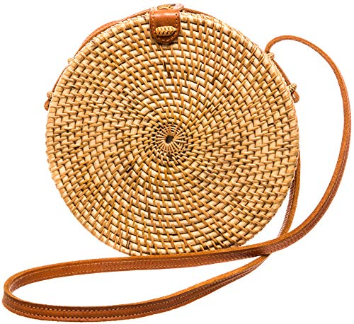 Womens Crossbody Brown Fashion Purse | Rattan Straw Bag | Basket Bag | Handmade Small Beach Tote | Stink Free, Snag Free, Button Clasp Closure | Perfect ladies handbag for gifting, bloggers and summer