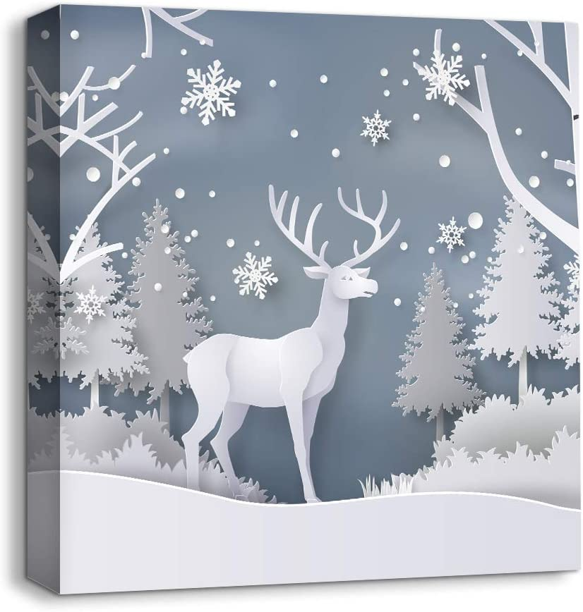 Amazon Com Nwt Idea4wall Canvas Wall Art Snow Deer Merry Christmas Painting Artwork For Home Prints Framed 24x24 Inches Posters