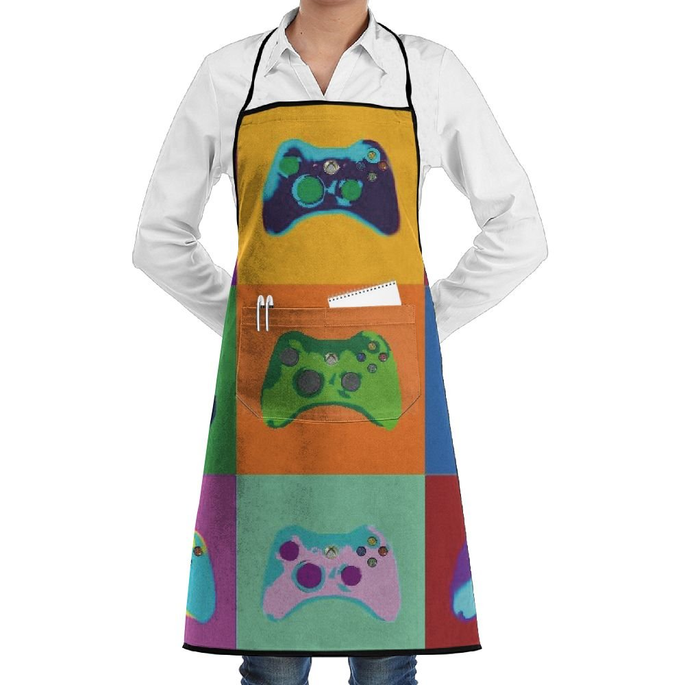 Novelty Colorful Game Gamepad Kitchen Chef Apron With Big Pockets - Chef Apron For Cooking,Baking,Crafting,Gardening And BBQ
