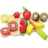 Früchten Holztablett mit Holzobst - Wishtime Pretend Play Küche & Essen Spielzeug für Kinder, darunter 7 Arten von Früchten Bestes Geschenk für Kinder