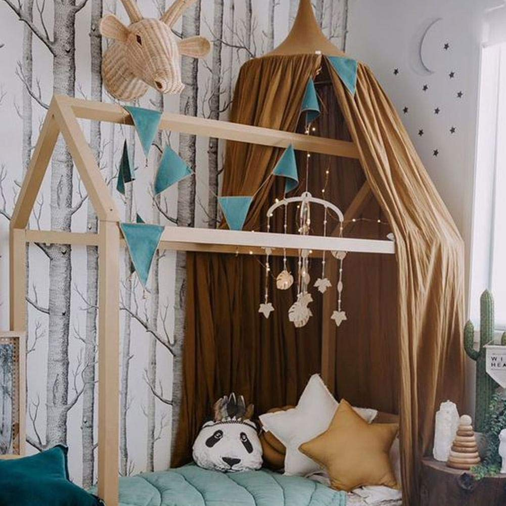Big-time/ Princess Bed Canopy Mosquito Net for Kids Baby,Round Dome Mosquito Net Kids Room Decoration Play Reading Nook Tent Cotton Canvas