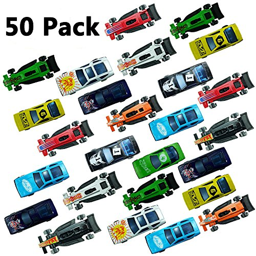 Yexpress 50 Die Cast Metal Plastic Toy Cars Race Car Toys for Kids Boys or Girls, Fun Gift, Party Favors or Cake Toppers