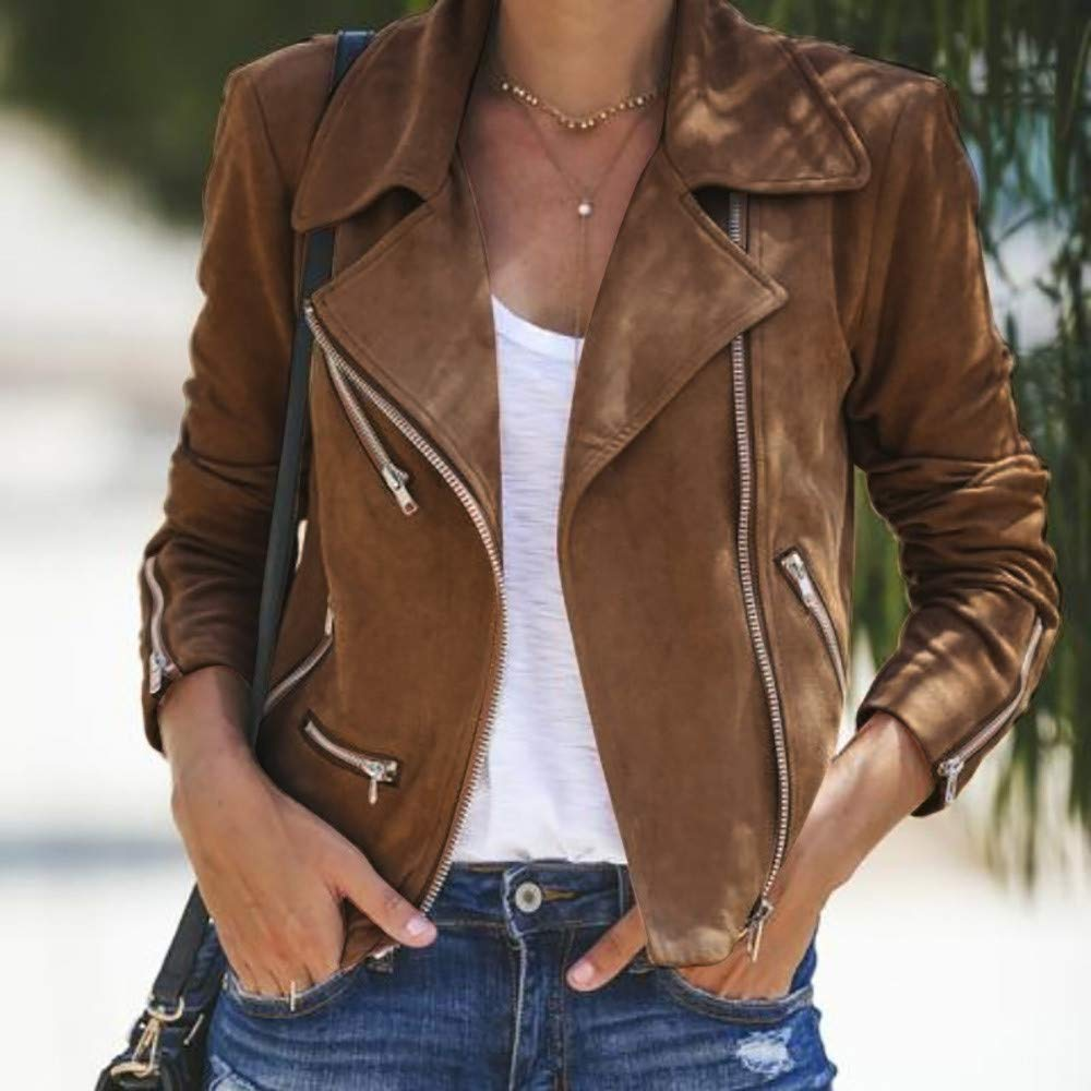 haoricu Ladies Up Leather Outwear Womens Plus Size Faux Suede Motorcycle Jacket Bomber Jacket