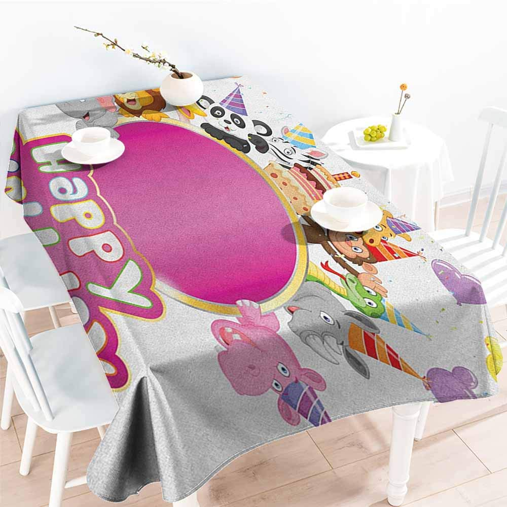 familytaste Kids Birthday,Oblong tablecloths Baby Safari Jungle Animals with Party Cones Balloons and Cake Image Print 70''x 102'' Tablecloths