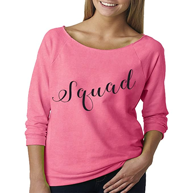 b44f8e4a6 Custom Apparel R Us Bride Squad Bachelorette Party Wedding Party Off  Shoulder T Shirt Pink Small