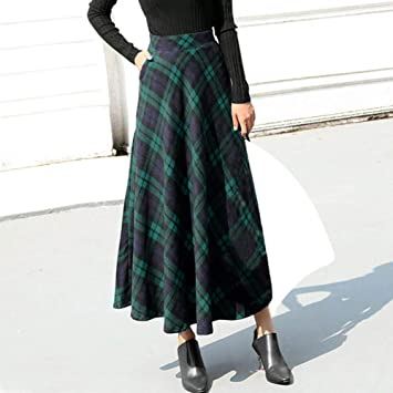 5795be681fb5 Women High Elastic Waist Maxi Skirt A-line Plaid Winter Flare Long Skirt:  Amazon.ca: Sports & Outdoors
