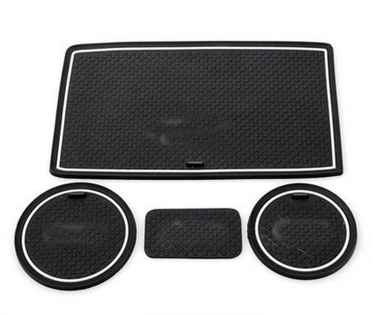 Nicebee 4pcs Non-Slip Mat Door Mat Cup Mat Car Pad for 2011-2017 Jeep Wrangler JK at Automatic Transmission with White Logo by Nicebee