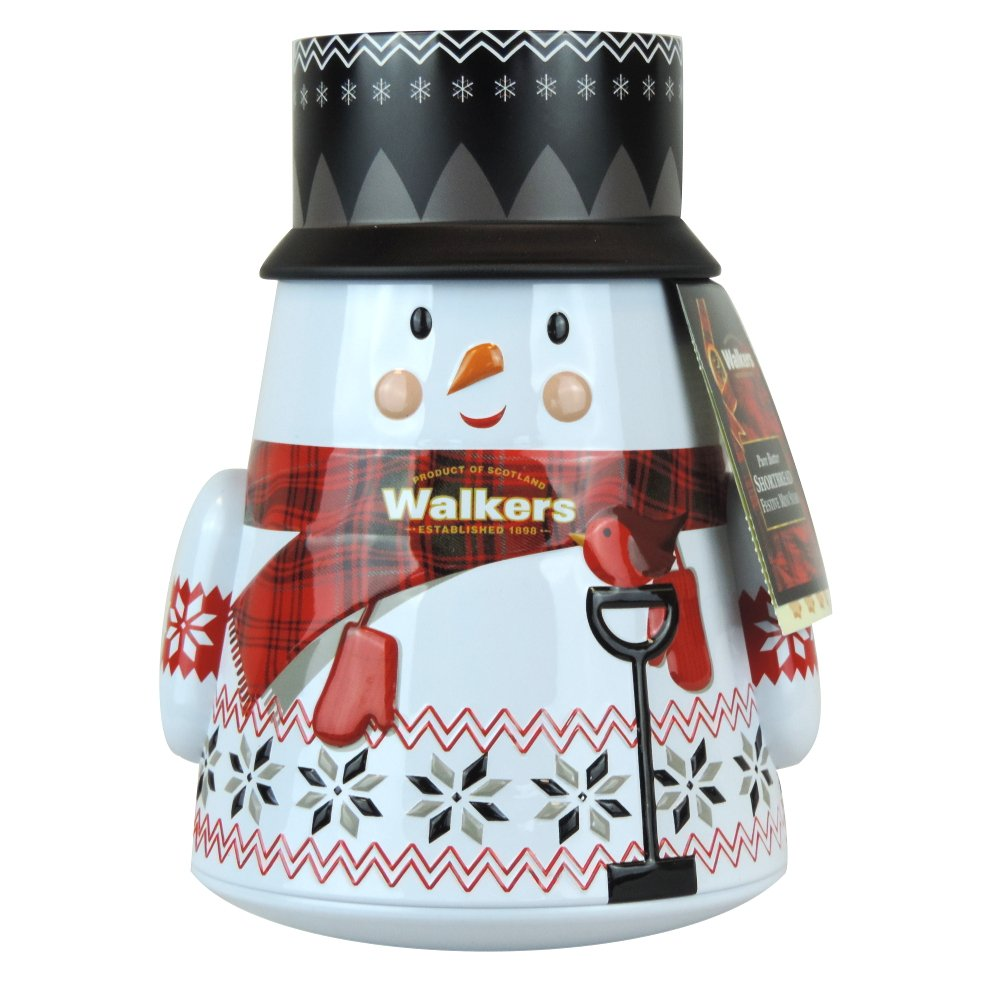 Walkers - Pure Butter Shortbread Festive Mini Stars - Snowman Tin - 200g (Case of 6)