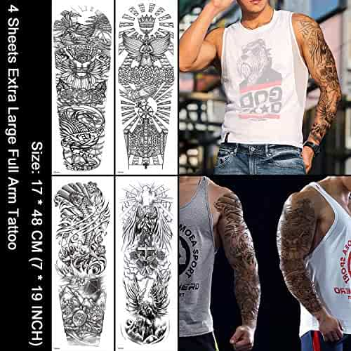 3f3596324 Oottati 4 Sheets Full Arm Leg Extra Large Temporary Tattoos, Cross Set Body  Art for