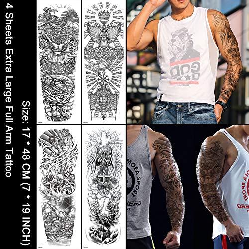 Oottati 4 Sheets Full Arm Leg Extra Large Temporary Tattoos, Cross Set Body Art for Men and - Arm Mm 170 Set