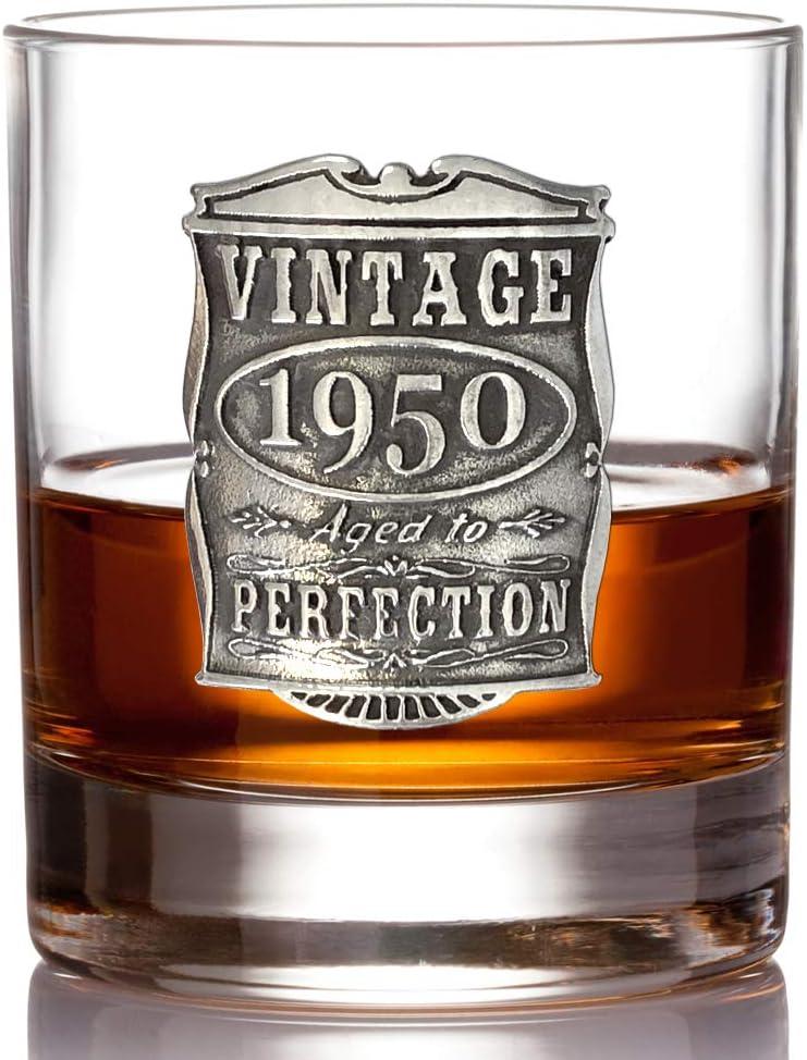 VIN001 Id/ée de cadeau unique pour homme English Pewter Company Verre /à Whisky Vintage Ann/ées 1949 70/ème Anniversaire ou Anniversaire
