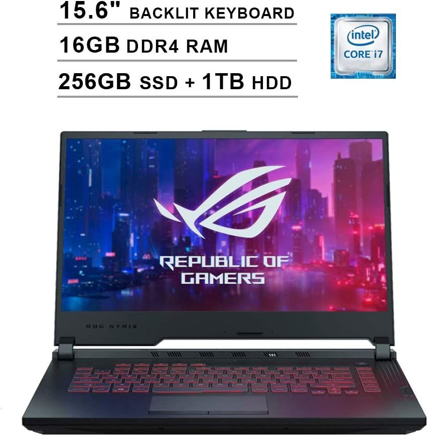 2020 Asus ROG G531GT 15.6 Inch FHD Gaming Laptop (9th Gen Intel 6-Core i7-9750H up to 4.50 GHz, 16GB DDR4 RAM, 256GB SSD + 1TB HDD, GeForce GTX 1650, RGB Backlit Keyboard, Windows 10) (Black)