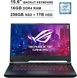 2020 Asus ROG G531GT 15.6 Inch FHD Gaming Laptop (9th Gen Intel 6-Core i7-9750H up to 4.50 GHz, 16GB DDR4 RAM, 256GB SSD + 1TB HDD, GeForce GTX 1650, RGB Backlit Keyboard, Windows 10) (Black)