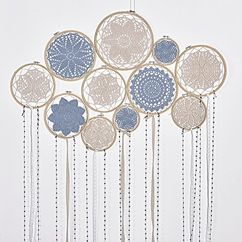cheerfullus DIY Large Lace Doily Dream Catcher Set Boho Dream Catcher Wall Hanging Wedding Backdrop (Blue Embroidery Hoop)