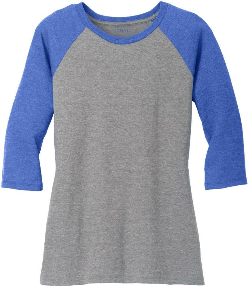 Joe's USA(tm) Ladies 3/4 Raglan Baseball T-Shirt-Royal/Grey-XS