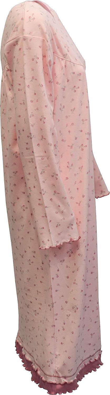 Linea Fiori KISENE Kiwear Camicia da Notte per Donna Maniche Lunghe Puro Cotone Interlock