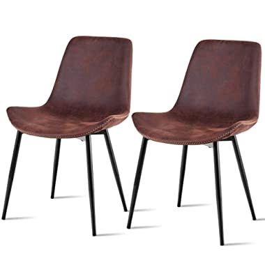 Giantex 2Pcs Dining Chairs Barstools Accent Armless Chairs Suede Fabric Home Dining Room Furniture w/Metal Legs Home Office Reception Chairs Guest Side Chairs, Brown