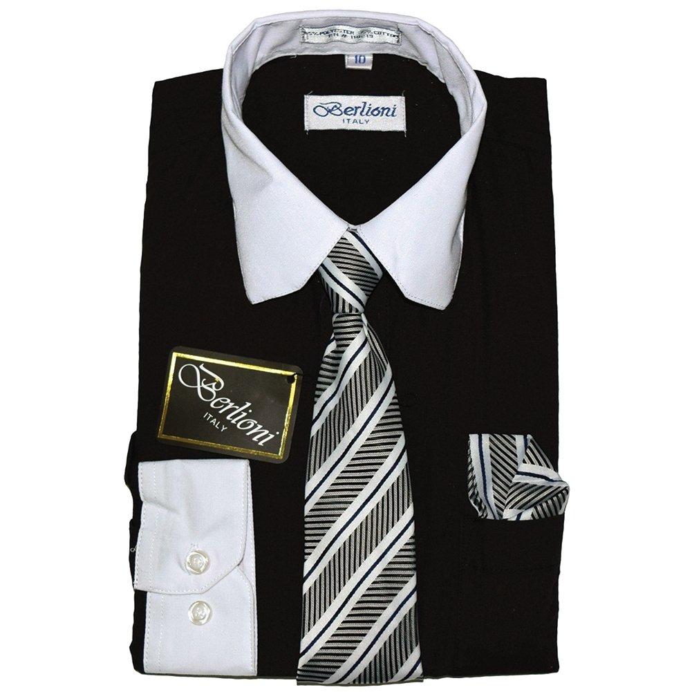 Berlioni Boys Two Tone Wedding Dress Shirts Kids Long Sleeve Tie & Hanky-BLACK-16