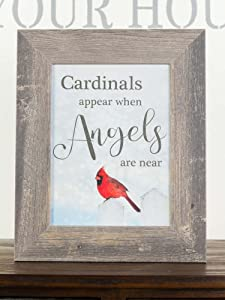 Summer Snow Cardinals Appear When Angels are Near Sympathy Red Cardinal Religious Framed Art Decor 13x16 (Barnwood Frame)