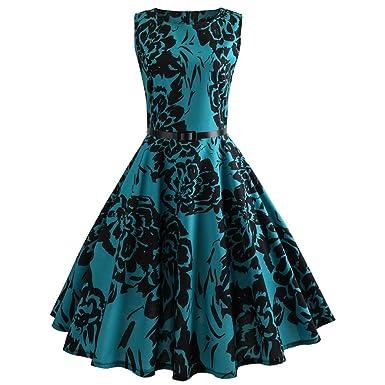 4100847db441a4 LEEDY Kleid Cocktailkleid, Damen 50er Jahre Hepburn Stil Vintage Rockabilly  Blumendruck Faltenrock Partykleider, Knielang Petticoat Kleider Swing Party  ...