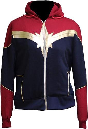 LeatherTrendz Captain Marvel Sudadera con Capucha para Mujer ...