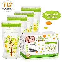 Breast Milk Storage Bags 8 Oz 200 ml Self Standing Leak Proof Breastmilk Storage Bag, BPA Free FDA Approved, 112 Count
