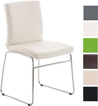 CLP Esszimmerstuhl LEA mit hochwertiger Polsterung und Kunstlederbezug | Küchenstuhl mit Bodenschonern und Einer Sitzhöhe von: 47 cm wählbar Weiß