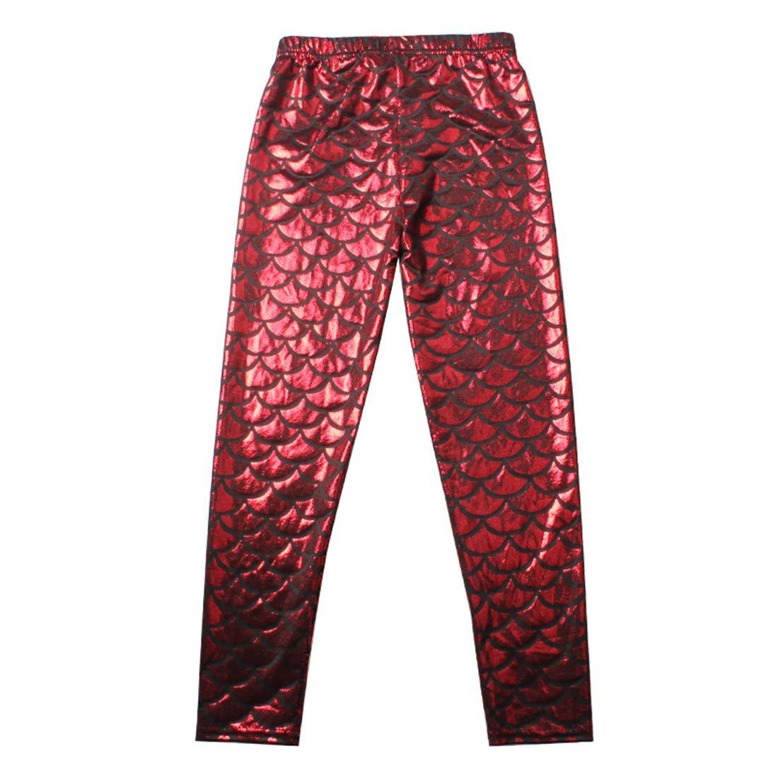 Girls Stretch Tights Spring Summer Mermaid Leggings Yoga Pencil Pants Running Workout Print Gym Trousers Sportswear