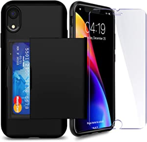 iPhone XR Case with Card Holder and[ Screen Protector Tempered Glass x2Pack] SUPBEC i Phone xr Wallet Case Cover with Shockproof Silicone TPU + Anti-Scratch Hard PC - Full Protective (Black)