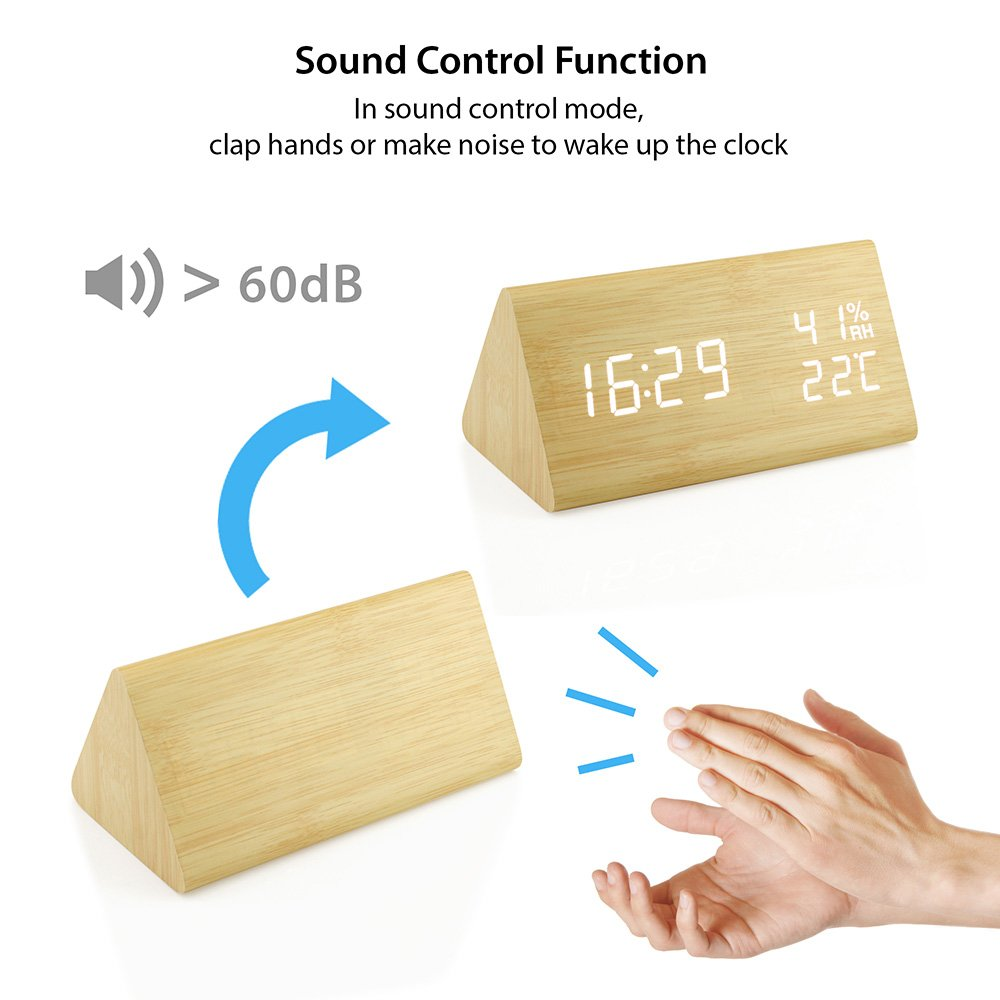 Oct17 Wooden Alarm Clock, Wood LED Digital Desk Clock, UPGRADED With Time Temperature, Adjustable Brightness, 3 Set of Alarm and Voice Control, Humidity Displaying - Bamboo by Oct17 (Image #3)