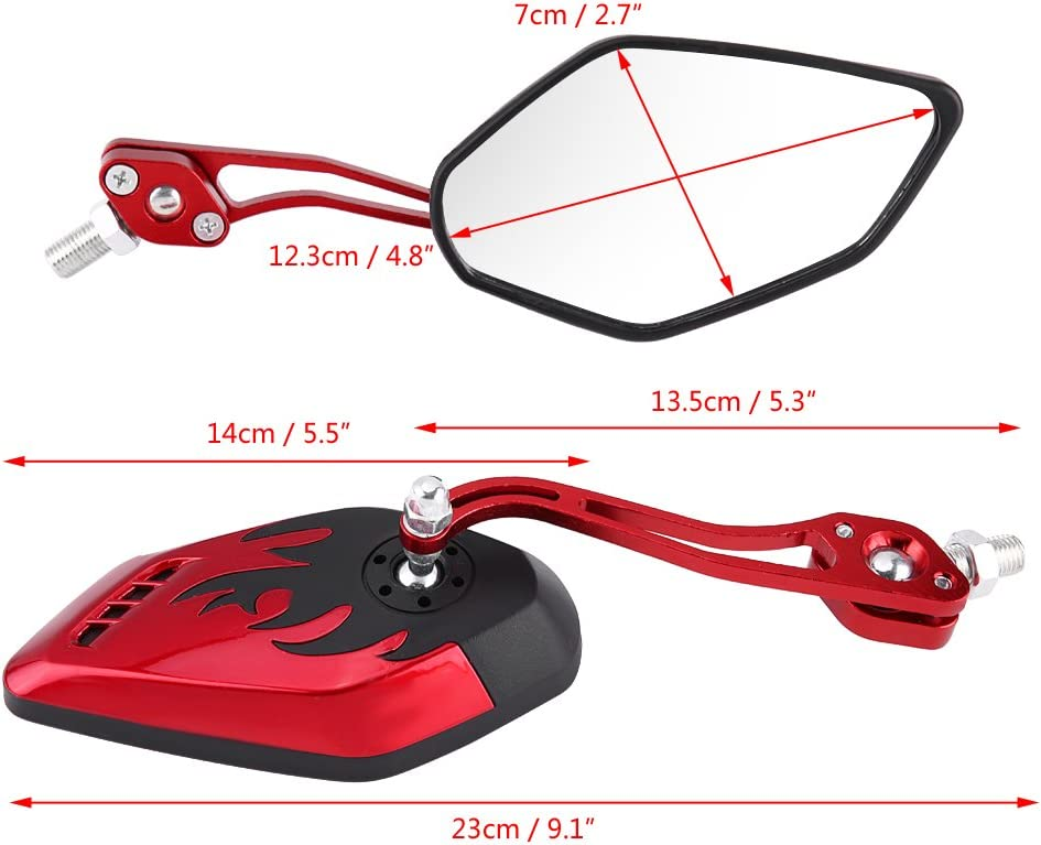 Cuque Rear View Mirrors 1 Pair Universal Motorcycle Bar End Mirrors Rearview Multi Angle Adjustable Scooter Aluminum Flame Pattern Side Mirror 8mm 10mm for Most of Motorcycle Motorbike Red