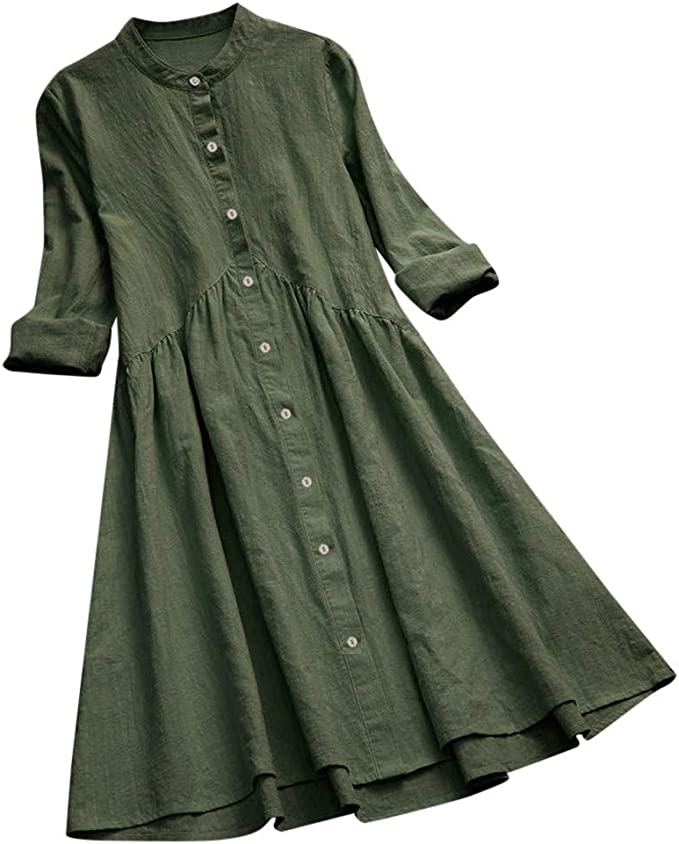 Amazon.com: Clearance!! Womens Linen Dresses Plus Size ...