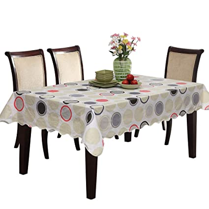 UFRIDAY Circle Pattern Flannel Tablecloth 60 X 90 Inch For Rectangle Tables,  Elegant Plastic