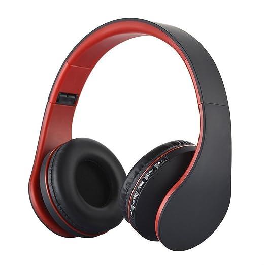 KINGCOO Auriculares Plegables Inalambricos Bluetooth con soporte para Tarjeta MicroSD, Radio FM, Microfono para Manos Libres(Negro/Rojo)