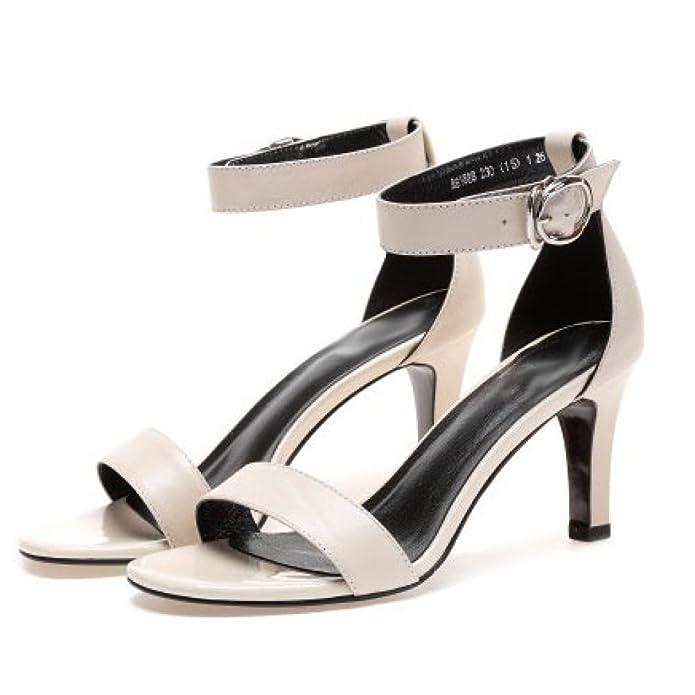 DKFJKI Talons Aiguilles en Cuir pour Femmes Open Toe Word Buckle Sandals Robes à La Mode Prom Party,Black-33